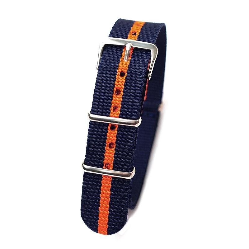 Retail 18mm dark blue orange dark blue Sport nato fabric watch band straps accessories Bands nylon watchband steel Buckle belt napapijri guji check dark blue