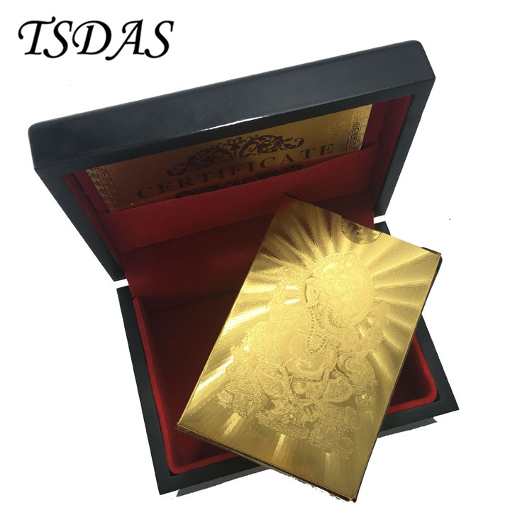 Hot Selling 24K Gold Plated Playing Card With India God Design, Gold Foil Poker Card With Wooden Box Lucky Gift