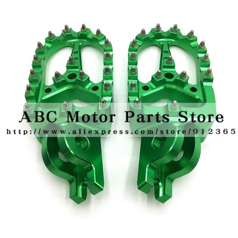 Billet MX Wide Foot Pegs Rests Pedals For KLX KXF KLX450R KXF250 KX250F KXF450 KX450F Motorcycle Motocross Enduro Motard