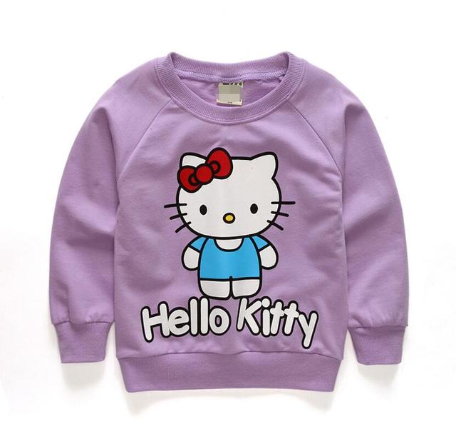 3d4fb4ee2 Brand Baby Kids Girls Hoody Tops Clothes Autumn Jacket Long Sleeve Sweater  Sports Children Clothing Hello Kitty