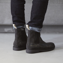 New Winter Chelsea Genuine Leather Men Boots Platform Flat males's Boot Shoes Deep Grey Apricot Slip On Ankle Boots