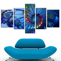 Five Version Of This Abstract Color Can Be Customized Box Flower Print On Canvas Painting Home