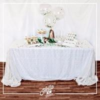 Wholesale 10PCS White Sequin Tablecloth Wedding Cake Tablecloth Rectangle Sequin Table for Wedding Decoration90x156inch