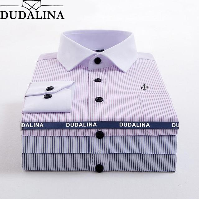 e867557ce7 DUDALINA Listrado Bolso Roupas Masculinas Slim Fit Homens Homens Camisa de Manga  Longa Polka Dot Camisa
