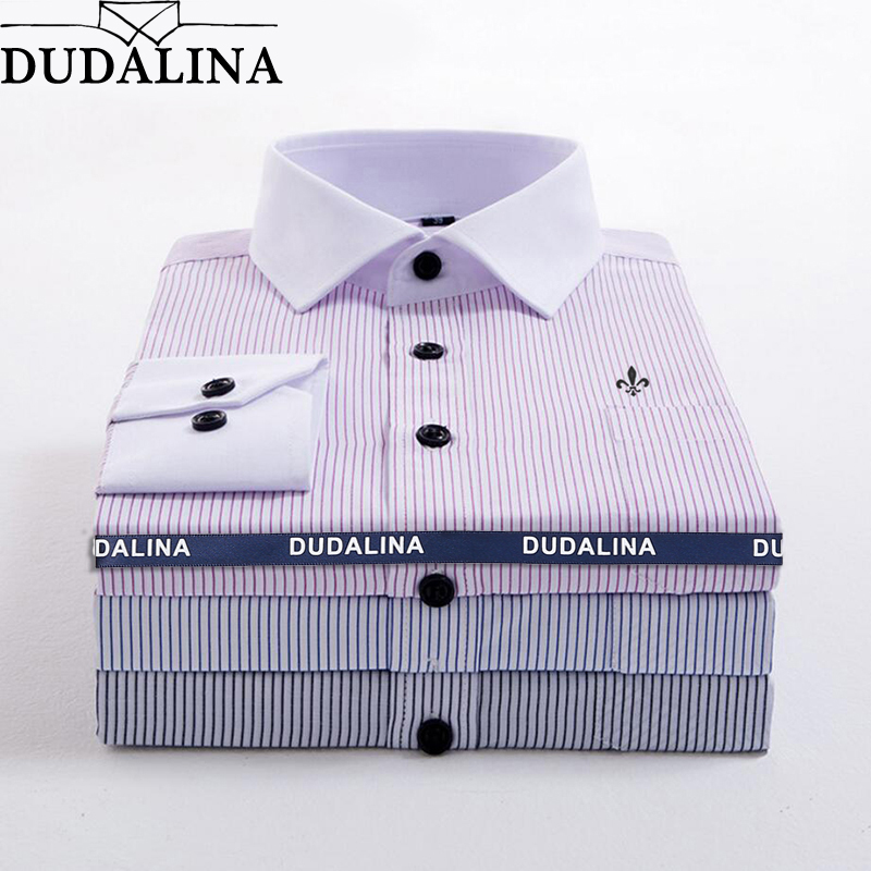 DUDALINA Striped Pocket Men Clothes Slim Fit Men Long Sleeve Shirt Men Polka Dot Casual Men Shirt Social Plus Size M-5XL