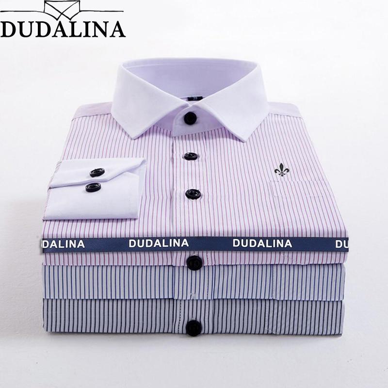 01690971ab7f1 DUDALINA Striped Pocket Men Clothes Slim Fit Men Long Sleeve Shirt Men  Polka Dot Casual Men Shirt ...