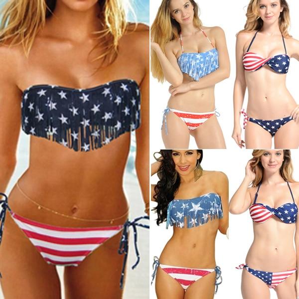 2015 Sexy Women Summer Stars And Stripes USA Flag Bikini Swimsuit Padded Tassel Fringe Bandeau American Swimwear 4 Styles