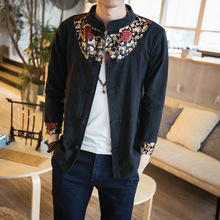 The Spring And Autumn Wind, Linen China Paragraph Men's Long Sleeved Shirt Size Linen Men Floral Shirt Wholesale