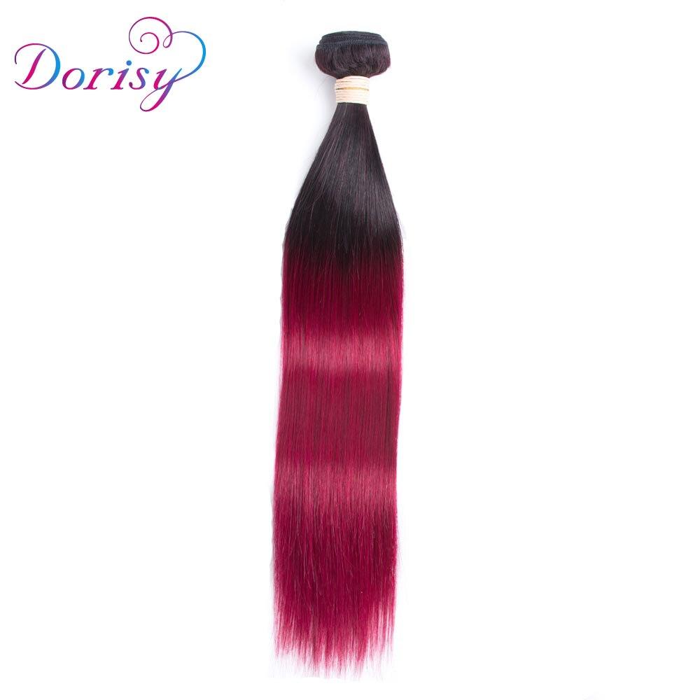 Ombre Brazilian Straight Hair 1B 99J/Burgundy Two Tone Human Hair Bundles 1PC Non Remy H ...