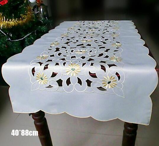 Современные кружевные белые скатерти с вышивкой для кровати, атласная Скатерть для чая, кофе, столовые приборы, свадебные вечерние рождественские украшения|Настольные дорожки|   | АлиЭкспресс