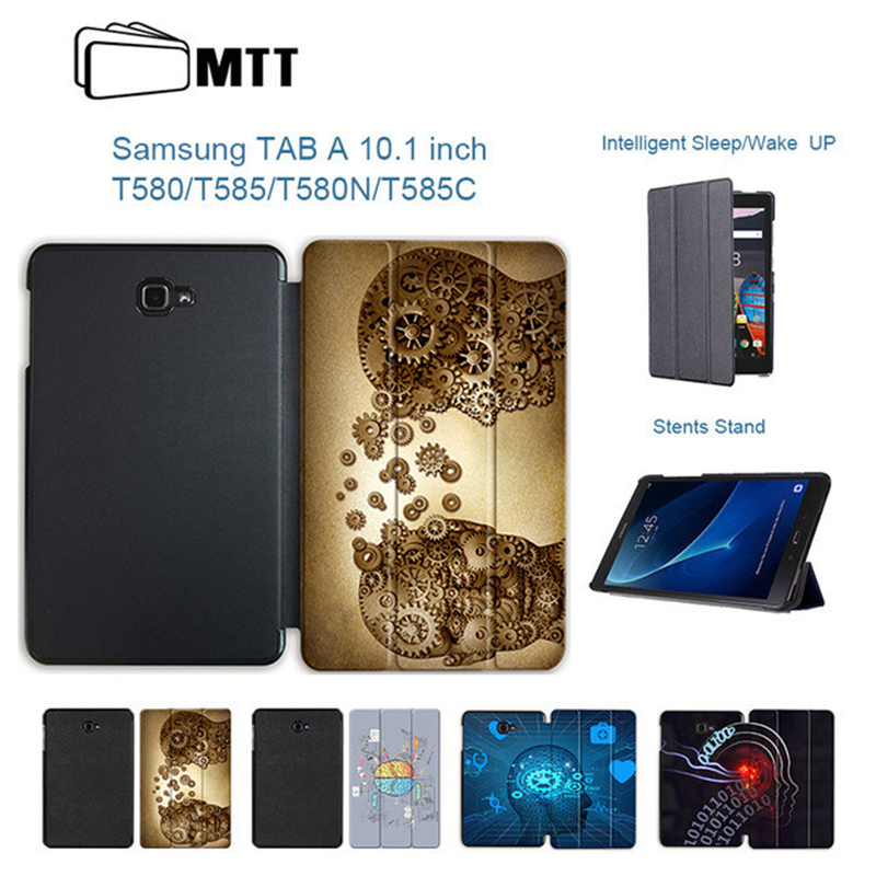 MTT Print Case For Samsung Galaxy Tab A 10.1'' A6 T580N T585C Protective Stand Cover for Galaxy Tab A 10.1 SM-T580/585 Tablet leopard print pattern protective plastic case w tail for samsung galaxy s4 i9500 black yellow