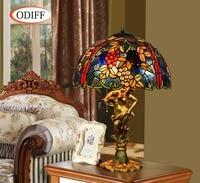 Eusolis 16 inch Stained Glass Table Lamp Vintage Light Mosaic Abajur De Mesa Bedroom Lamparas Mesa Art Deco Home Nordique
