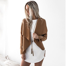 Autumn Fashion Turn-down Collar Coat Women Long Sleeve Cardigan Female Woolen Coat Solid Lapel Short Jacket Womens Outwear Lady(China)