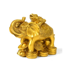 Feng Shui Gold Money Frog On Elephant Figurine Wealth Gift & Home Decor
