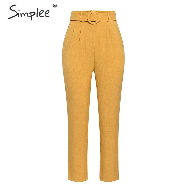 Simplee Elegant women office pants Autumn mid-high waist pleated cropped pants Chic winter belted pockets ladies trousers 2019