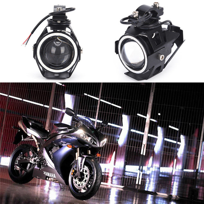 IKVVT 1pc U7 125W Motorcycle LED Angel Eyes HeadLight Spot Fog Driving Light