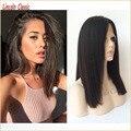 New Best Medium Length Virgin Mongolian Italian Yaki Full Lace Wigs Human Hair Glueless Full Lace Yaki Straight Wig Human Hair