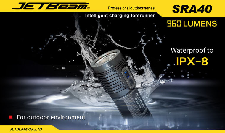 Бесплатная доставка 2014 Оригинал JETBeam SRA40 CREE XM-L2 LED 960 люмен фонарик ежедневно факел совместим с 4 * батарейки АА