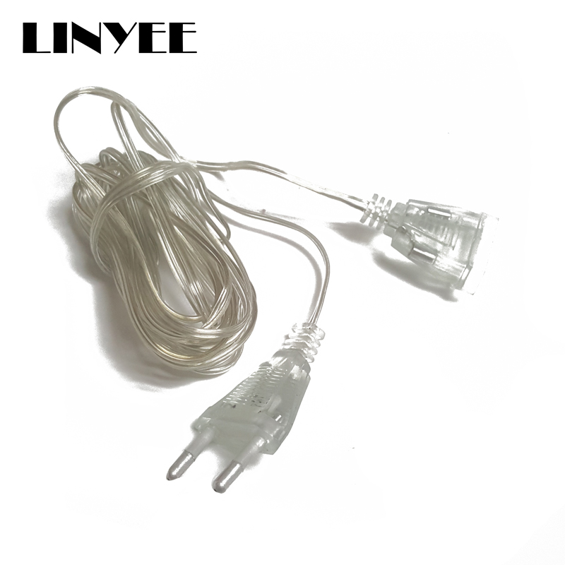 3M EU US Power Extension Cable Plug Transparent Standard Power Extension Cord For Home Holiday Led String Light Christmas Lights