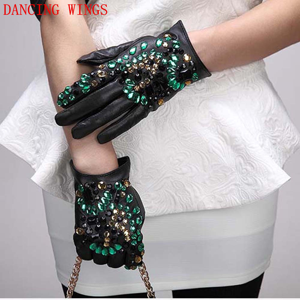 Femme Women Winter Gloves Colorful Diamond Real Sheepskin Gloves Ladies Black Leather Gloves