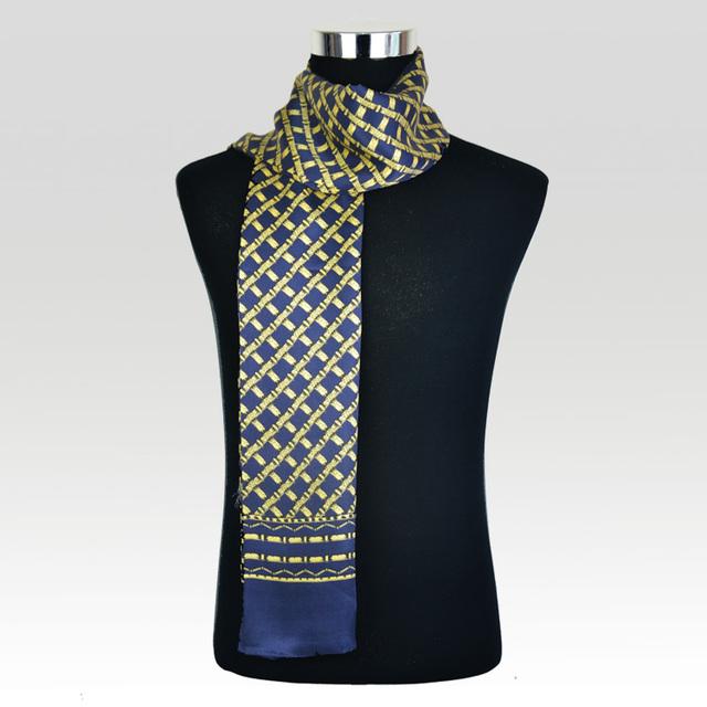 100% Satén de Seda Larga Bufanda Para Los Hombres 26X160 cm Nueva Desigual Clásico Patrón Impreso Bufanda Azul Marino Hombres de Negocios venta al por mayor