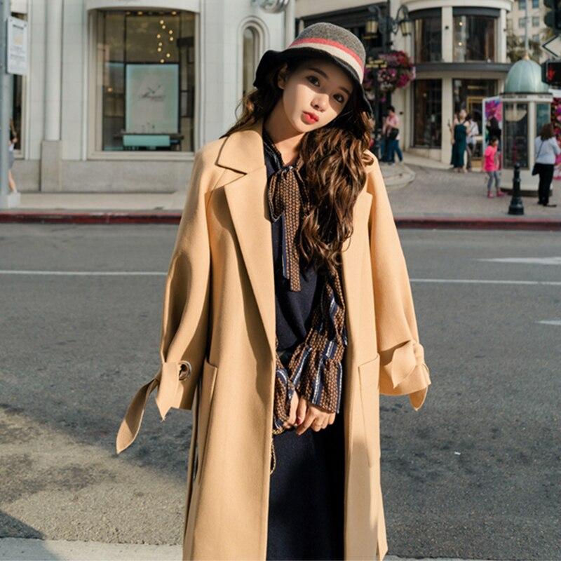 Kadın Giyim'ten Yün ve Karışımları'de Wmswjh 2019 Sonbahar/kış Yeni Kadın Rahat yün blend trench coat boy Kaşmir Palto Hırka Uzun ceket kemer A220'da  Grup 3
