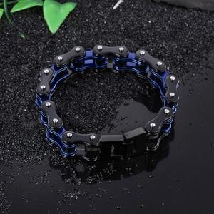 Image 2 - Mens Motorcycle Chain Bracelet Punk Bike Chain Bracelet Blue Stainless Steel Bike Chain Bracelet Couple Bracelet Wholesale