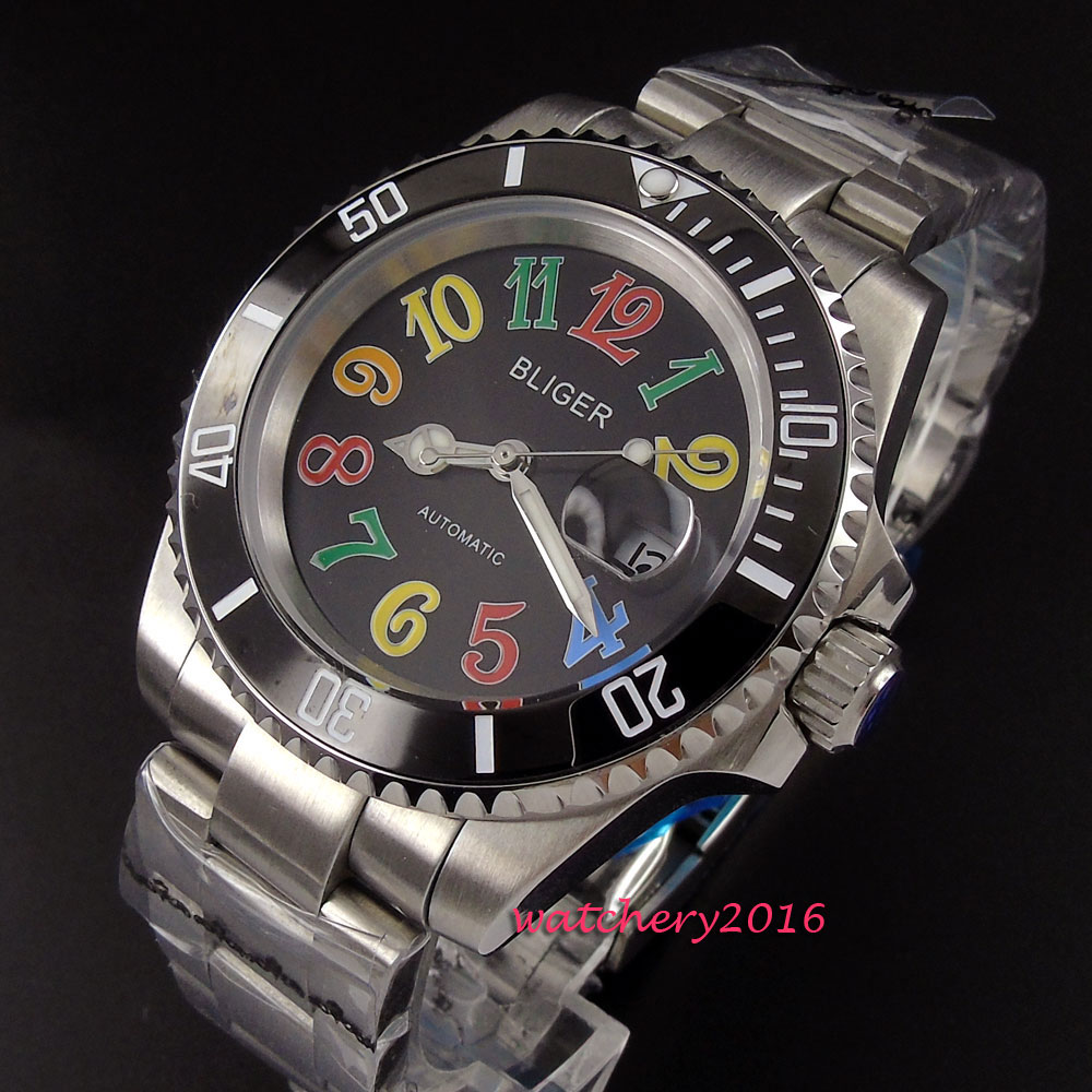 40mm Bliger Black Dial ceramic bezel Sapphire Glass Date Window SS band Luminous Marks Automatic Mechanical men's watch