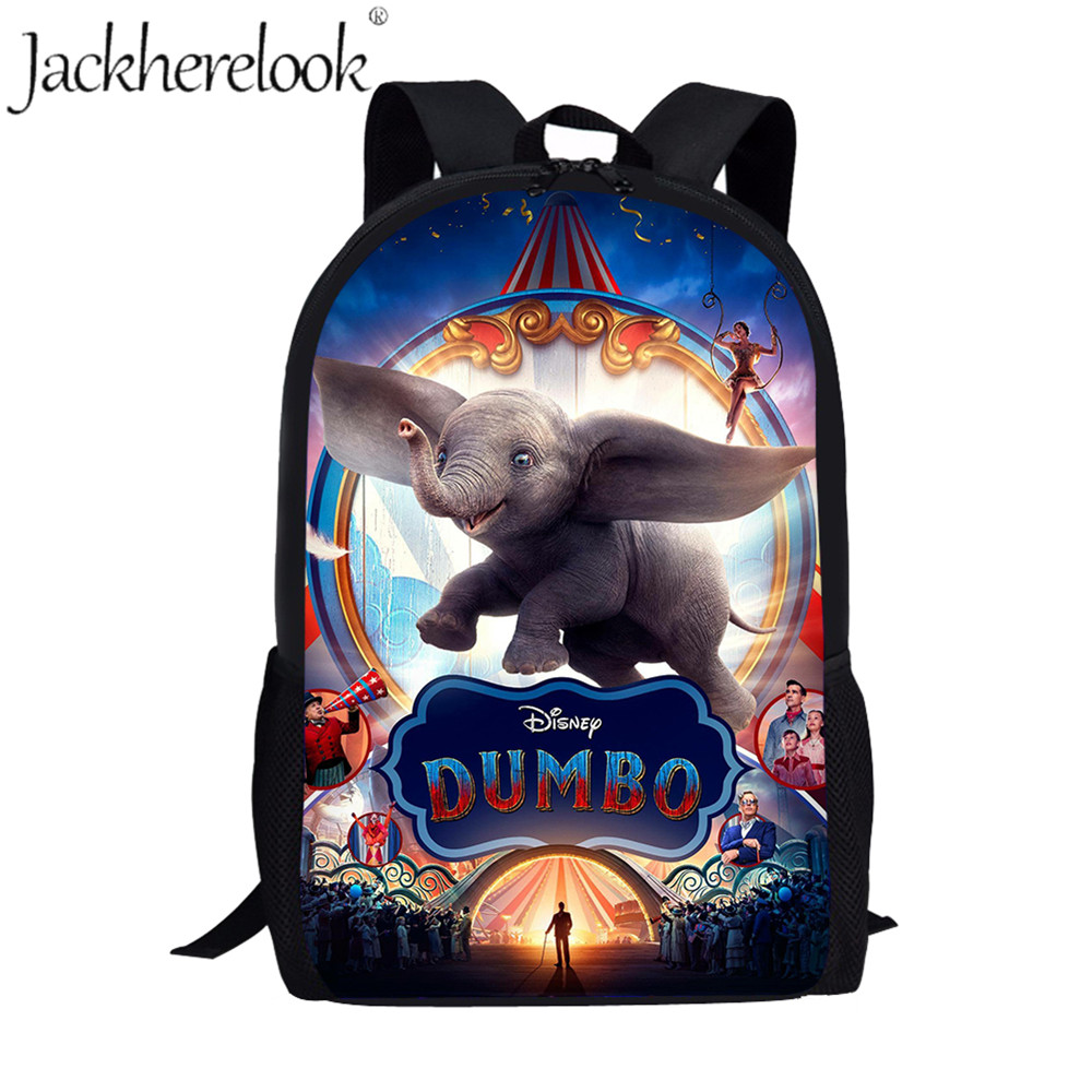 Jackherelook Fashion Kids School bags Cute Cartoon Dumbo Anime Print Children Book Bag Backpack for Teenager Boys Girls