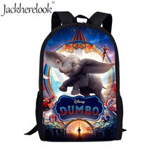 Jackherelook Fashion Kids School bags Cute Cartoon Dumbo Anime Print Children Book Bag School Backpack for Teenager Boys Girls dispalang cute dog computer backpack for teenager animal 3d print laptop school bags for children tourism shoulder book bag