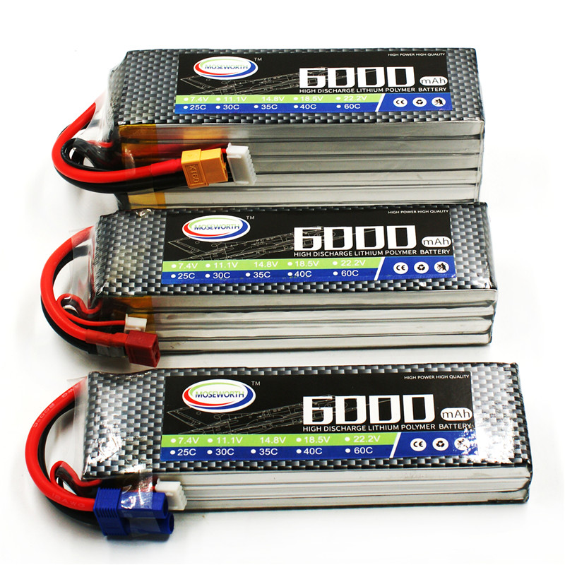 MOSEWORTH  RC Lipo Battery 18.5v 6000mAh 40C 6s  XT60/T plug Li-po batteries for RC Car/Boat Airplane Helicopter Quadcopter