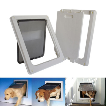 Extra Large 13.7''x11.8''x1.5''Pet Cat Dog Lockable Flap Door Gate Telescoping Frame Transparent Magnetic Closure Design Doors 1