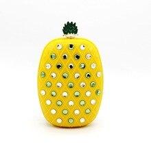 2016 Time-limited Flap Denim Day Clutches Linen Single Chains Unisex Bolsas Leather Handbags Bolsa New Fruit Bag Hand Pineapple