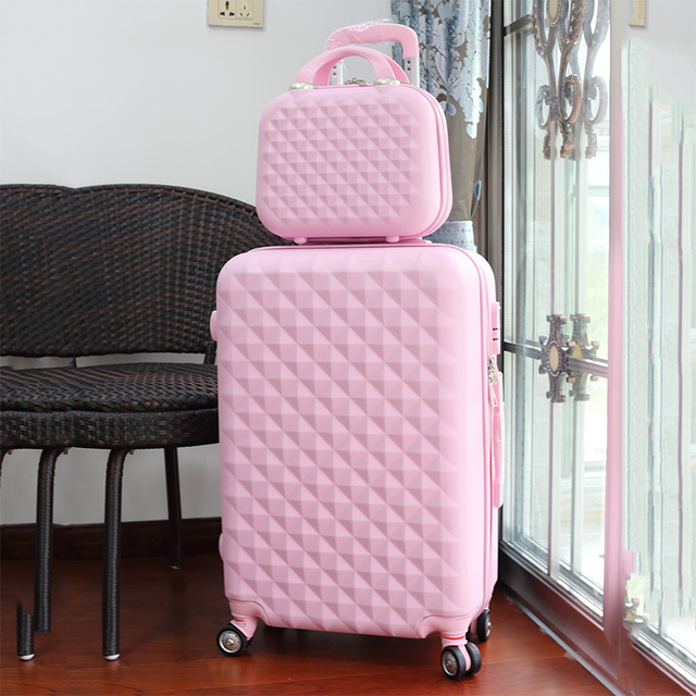 cb1907001 Wholesale!14 22inches korea fashion candy color purple abs hardside case  trolley travel luggage set for girl,lovely gift