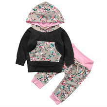 2017 Spring Autumn Toddler Clothes Child Woman Lengthy Sleeve Black Hoodie Sweatshirt Tops Coat + Pants 2Pcs Ladies Outfits Set