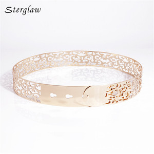Image 3 - Hot fashion Hollow Metal strap for women Modeling belt 2020 New 3.5cm Golden waist womens belt Girdle for dresses cinturone J013