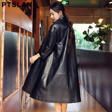 Ptslan Genuine Leather Jacket Women Top Fashion New Plus Size Slim Ladies Long Trench Coat Female