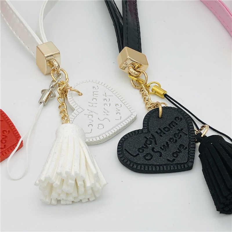 Fashion Tassel Hot Pop Lanyard Charm Mobile Phone Pendant PU Leather Love Camera Strap For iPhone Decor Keys Accessories