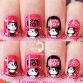 For Kids Children New 12 pieces Panda 3D Fashion Cute Style Plastic Art short Fake false Sticker Nail Tips Free Glue Gel [N602]