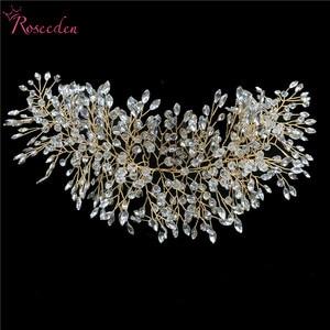 Image 5 - Romantische Rose gold Voller strass kristall Hochzeit Tiara Stirnband 100% Handgemachte Braut Kopfschmuck Haar Zubehör RE3129