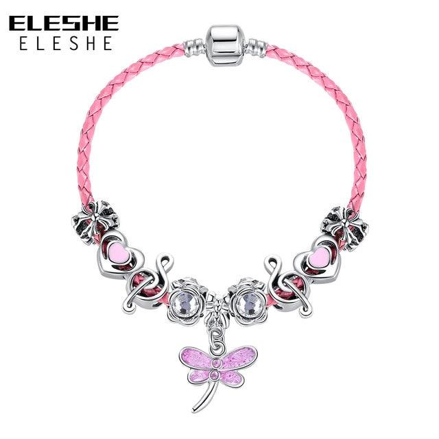 Eleshe Cute Children Erfly Charm Bracelet For Women S Kids Shamballa Crystal Beads Bangle Lovely