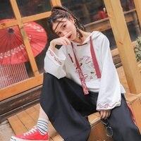 Traditional Japanese Clothes Female Kimonos White Hoodie Cheongsam Dress Chinese Style Harajuku Kawaii Japanese Cosplay FF2097