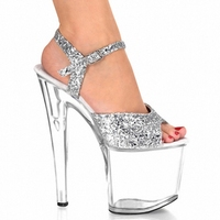 20CM Platform Crystal Shoes 8 Inch High Heel Shoes Sexy Women Fashion Exotic Dancer Shoes Silver