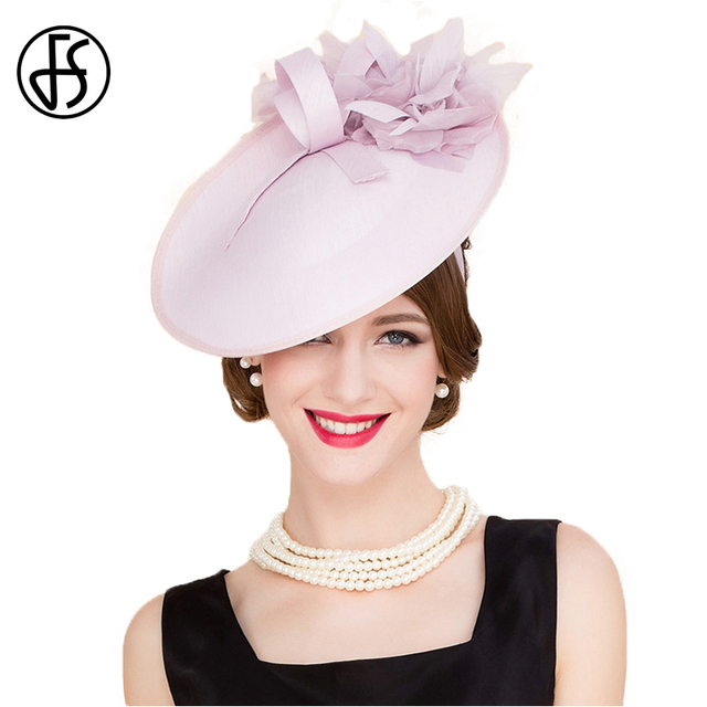 419608262207a FS England Style Pink Pillbox Hats Women Elegant Flower Fedora For Ladies  Wedding Hat And Fascinator Party Church Derby Caps