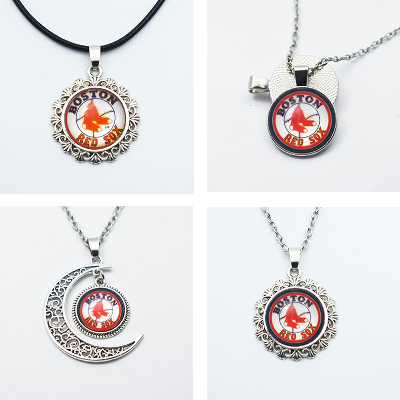 10PCS 3Style 16/25MM Time Gem Glass Pendant Necklace Sports Baseball Boston Red Sox Team Jewelry Pendant