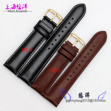 20mm 22mm Black Smooth Genuine Leather Watch Strap Band Mens Depolyment Stainless Steel Buckle