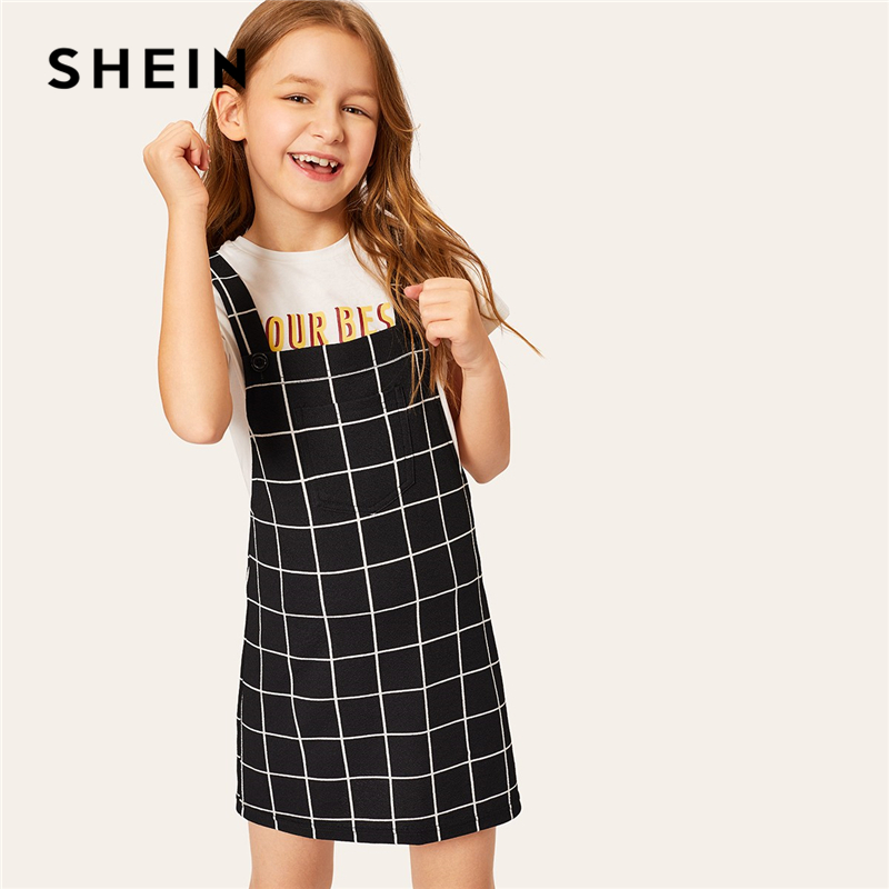 SHEIN Kiddie Black Plaid Pocket Front Pinafore Preppy Girls Dress Teenager Clothes 2019 Summer Sleeveless Buttoned Kids Dresses buttoned