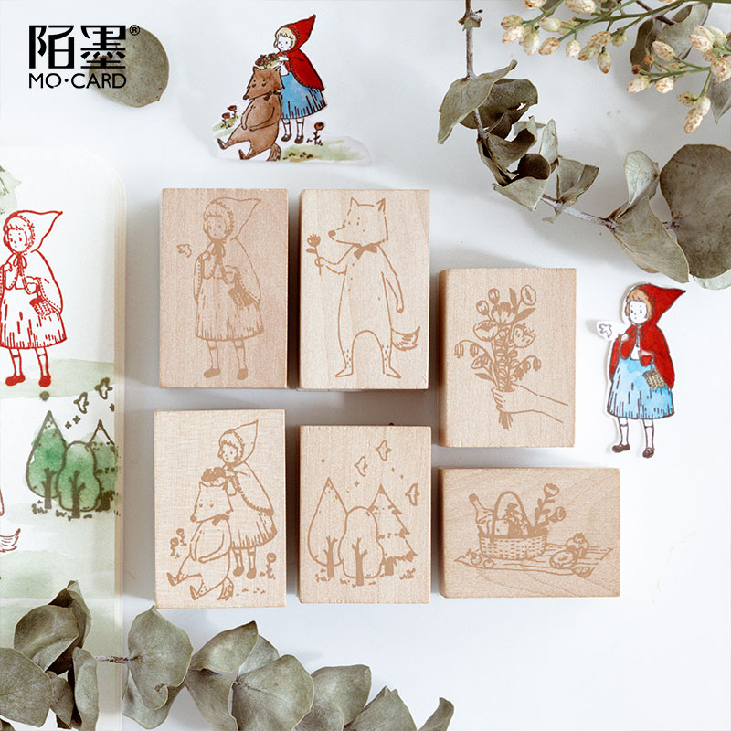 Wooden Rubber Stamps Little Red Riding Hood Patterns Stamps Set For Diy Craft Card Scrapbooking Supplies