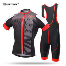 XINTOWN Grey Short Sleeve Cycling Jersey Set Suitable MTB Bike Clothing Summer Bicycle Jerseys Men Maillot Ropa Ciclismo