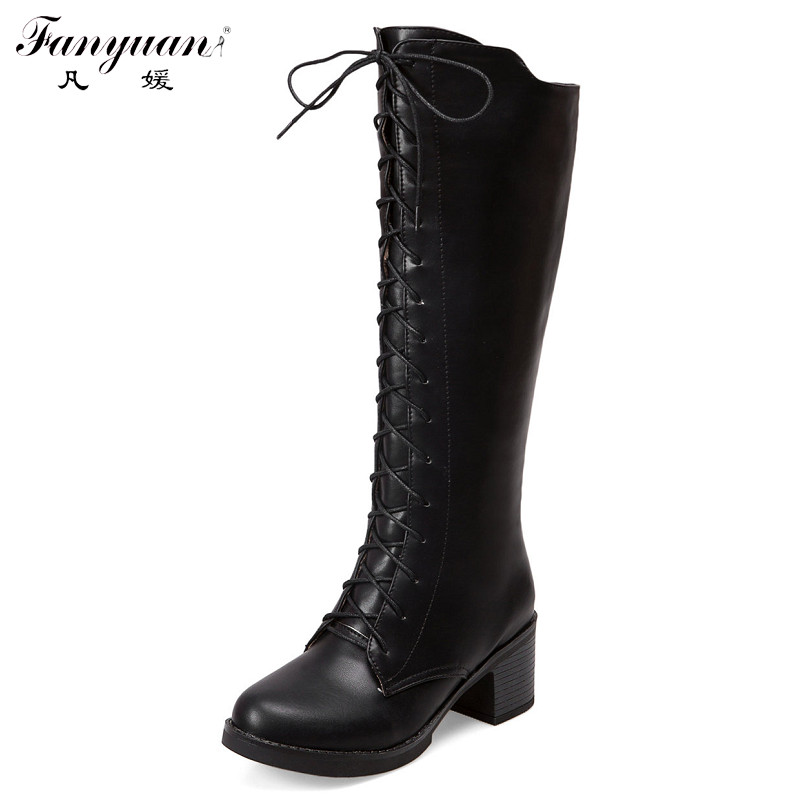 winter boots inside zip with front lace up knee high